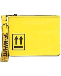 Off-White c/o Virgil Abloh Patent Leather Pouch - Yellow