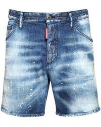 DSquared² 26.5cm Leaf Tape Commando Denim Shorts - Blue