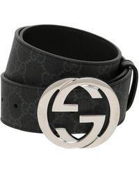 Gucci Gürtel aus Leder mit Doppel G Schnalle mit gewundener Struktur - Schwarz