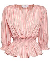 MSGM Рубашка Из Хлопкового Поплин С Оборками - Розовый