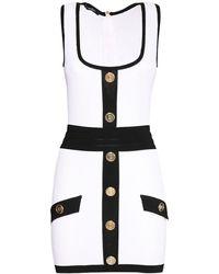 Balmain Трикотажное Мини-платье С Пуговицами - Белый