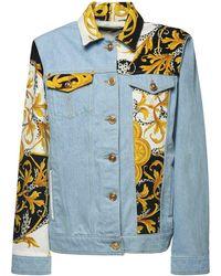 Versace Куртка Из Деним С Принтованными Вставками - Синий
