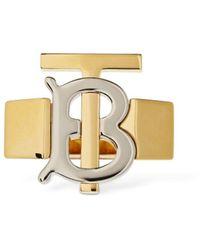 Burberry Tb Bicolor Logo Ring - Metallic