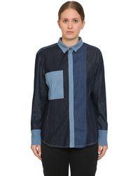 Marina Rinaldi Camisa De Denim De Algodón Patchwork - Azul