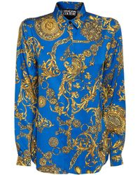 Versace Jeans Couture Baroque Print Viscose Twill Shirt - Blue