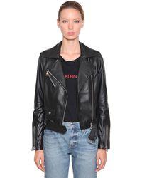 Calvin Klein レザー バイカージャケット - ブラック