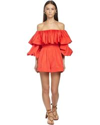Valentino Ruffled Faille Off-the-shoulder Jumpsuit - Red