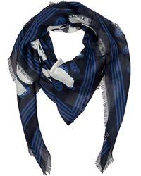 Alexander McQueen Платок С Логотипом Graffiti - Синий