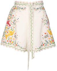 "Zimmermann Shorts ""carnaby"" In Misto Lino Con Ricami - Multicolore"