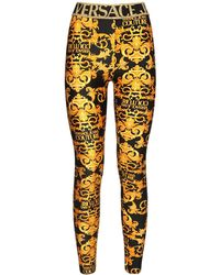 Versace Jeans Couture Bedruckte Leggings Aus Stretch-jersey - Gelb