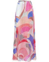 Emilio Pucci Printed Silk Chiffon Long Skirt - Multicolor