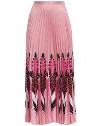 Valentino シルクツイルスカート - ピンク