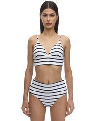 Eberjey Retro Striped Nylon Blend Rib Bikini Top - Blau