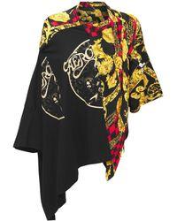 Junya Watanabe コットンジャージー&サテンtシャツ - ブラック