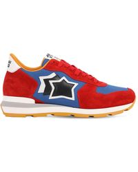 Atlantic Stars Antares Suede & Nylon Running Trainers - Red