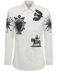 Alexander McQueen Хлопковая Рубашка С Принтом - Белый
