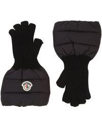 Moncler - Nylon & Wool Knit Gloves - Lyst