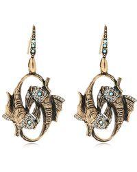 Alcozer & J Fish Brass Earrings - Metallic