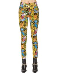 Versace Jeans Couture - Printed Cotton Denim Jeans - Lyst