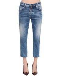 DSquared² Cool Girl Crop Straight Leg Denim Jeans - Blue