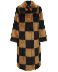 Stand Studio Nino Check Faux Fur Coat - Black