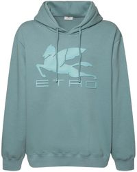 Etro メッシュコットンフーディー - ブルー