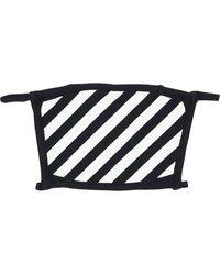 Off-White c/o Virgil Abloh Diagonal Gestreifte Gesichtsmaske Aus Baumwolle - Schwarz