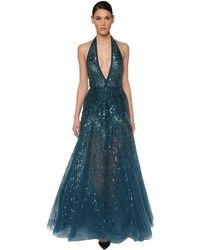 Elie Saab Sequin & Beads Embellished Tulle Dress - Blue