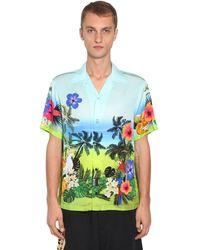 Versace Jeans Couture ビスコースボウリングシャツ - ブルー