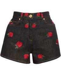Versace Embroidered Cotton Denim Shorts - Black