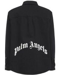 Palm Angels Рубашка Из Хлопкового Деним С Принтом Логотипа - Черный