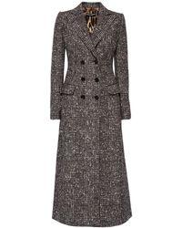 Dolce & Gabbana Zweireihiger Mantel Aus Wollmischung - Grau