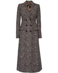 Dolce & Gabbana Двубортное Пальто Из Шерсти - Серый