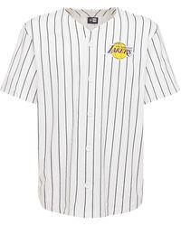 KTZ La Lakers Pinstripe Baseball T-shirt - White