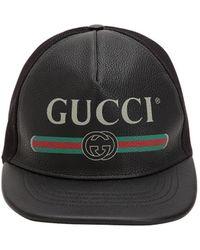 Gucci Gorro De Baseball De Piel Con Logo Vintage - Negro