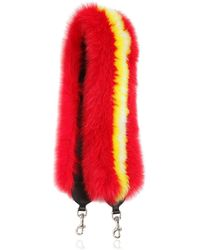 KATE CATE Judy Is Punk Fox Fur Shoulder Strap - Red