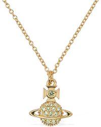 Vivienne Westwood Tamia Long Pendant Necklace W/ Crystals - Metallic