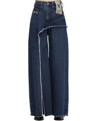 DIESEL D-izzier Wide Leg Cotton Denim Jeans - Blue