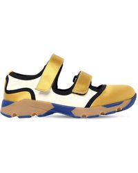 Marni - 30mm Leather & Satin Strap Trainers - Lyst