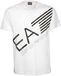 EA7 Футболка Из Хлопкового Джерси С Принтом Логотипа - Белый