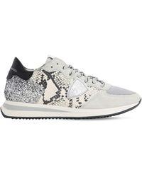 """Philippe Model Sneakers """"trpx"""" Con Estampado De Pitón Con Glitter - Gris"""