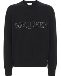 Alexander McQueen Трикотажный Свитер С Вышивкой - Черный