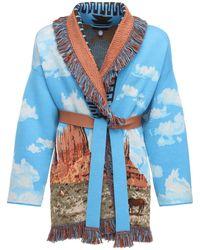 Alanui Intarsia Knit Wool Blend Jacket - Blue