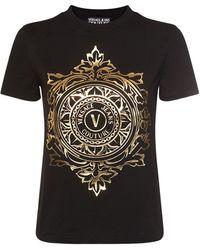Versace Jeans Couture コットンジャージーtシャツ - ブラック