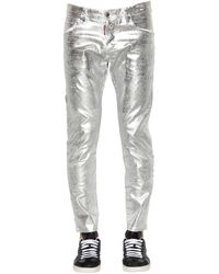 DSquared² 16cm Skater Metallic Waxed Denim Jeans