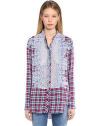 Ermanno Scervino - Cotton Plaid Shirt W/ Lace Details - Lyst