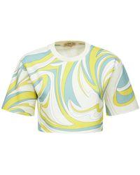 Emilio Pucci オーガニックコットンジャージークロップドtシャツ - マルチカラー