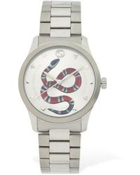 Gucci 38mm G-timeless Red Snake Dial Watch - Mettallic