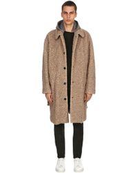 MSGM Wool Blend Coat W/ Houndstooth Hood - Natural