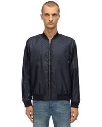 Gucci Reversible Gg Logo Nylon Bomber Jacket - Blue